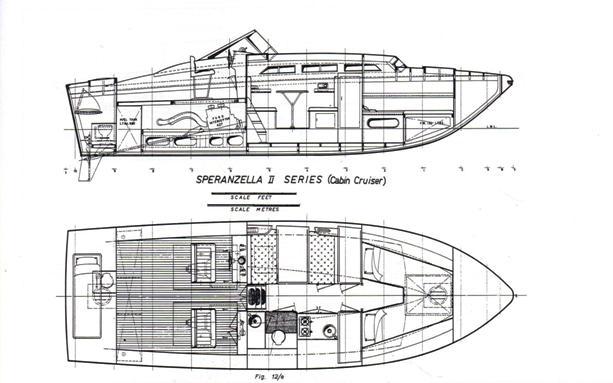 Speranzella II(Cabin Cruiser) disegno di Sonny Levi-Sezione longitudinale degli interni sul p.o e p.v.