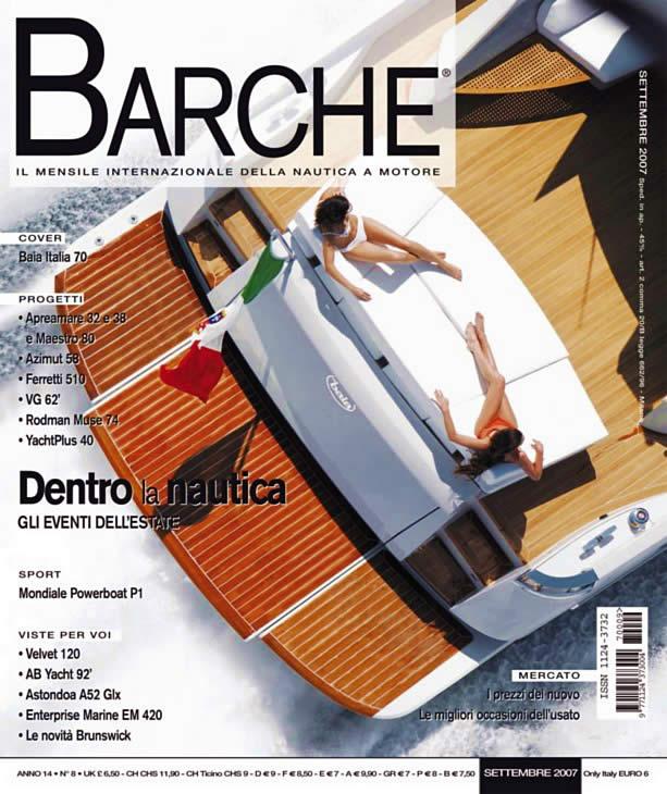 Barche - Rivista mensile della nautica a motore. Copertina di Settembre 2007