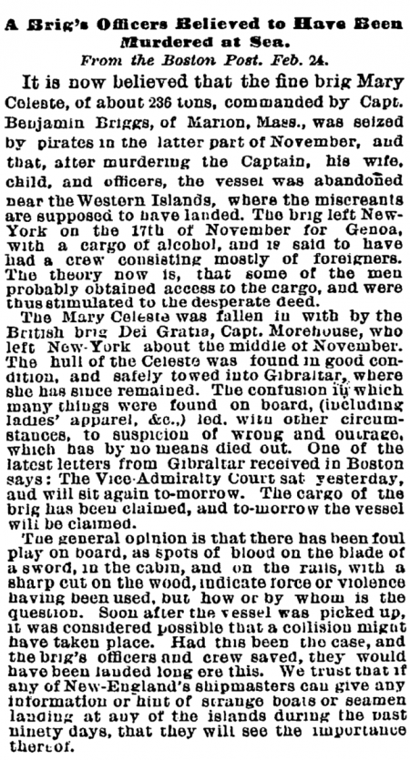 Mary Celeste - NYTimes 1873 February 26