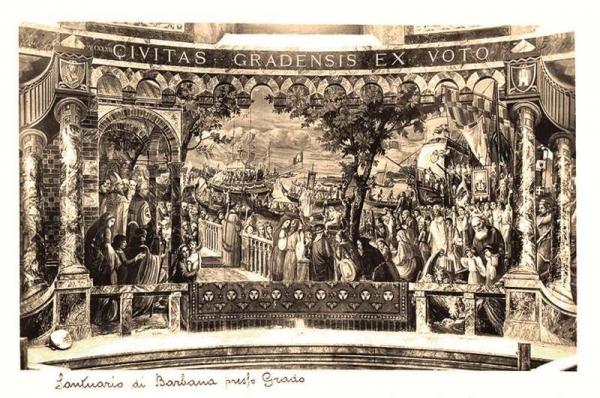 cartolina con affresco della cupola del Santuario di Tiburzio Donadon - processione votiva del 1237