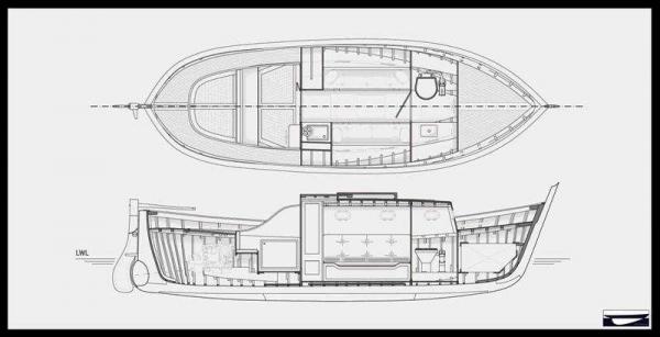 Gozzo Pexino - disegni sezione longitudinale