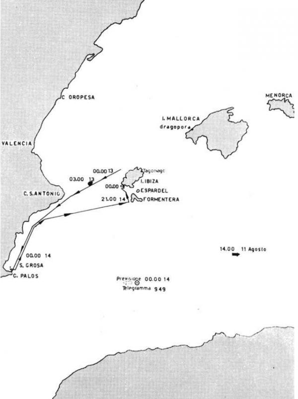 """Estate 1942- I movimenti del Cefalo durante la missione di """"agguato nel Mediterraneo Occidentale"""