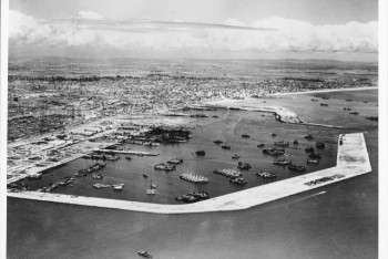 1946 - An aerial view of the Long Beach Naval Station after the conclusion of World War II. Courtesy of the Port of Long Beach
