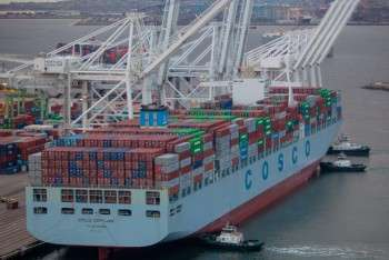 cosco 2014 pier j cosco denmark big ship beauty cargo peak season new 13000 teu