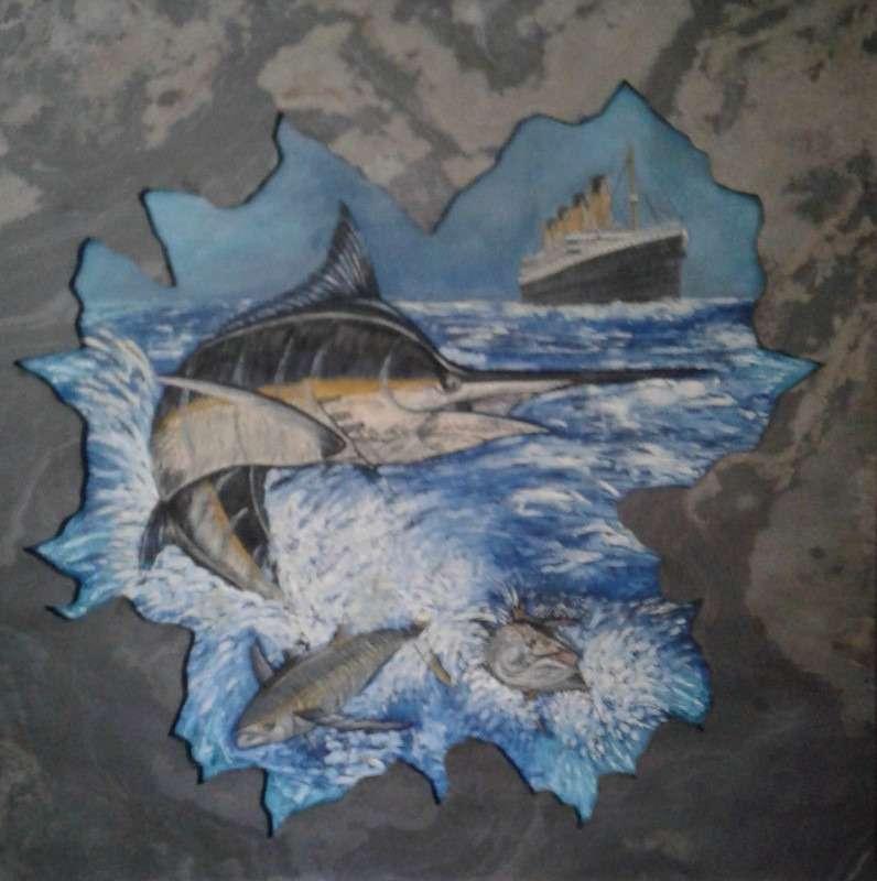 La pitto scultura su pietra di ardesia di Laura Pellerano