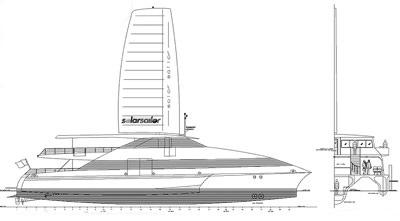 Catamarano con pannelli fotovoltaici