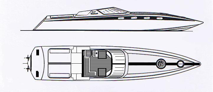 Italcraft Drago; eliche di superficie e step drive che raggiungeva i 50 nodi