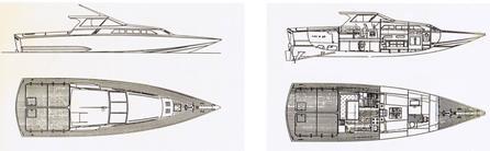 Disegni di Corsara dei Cantieri Delta di Anzio - progetto Sonny Levi & Sergio Pininfarina
