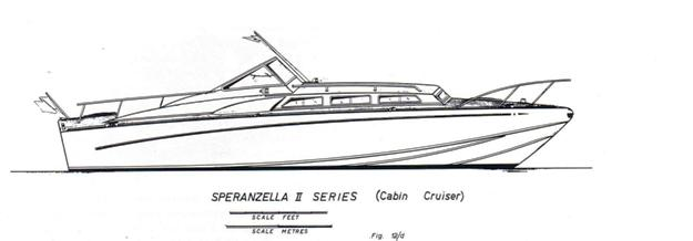 Speranzella II (Cabin Cruiser) disegno di Sonny Levi vista d'insieme sul p.o.