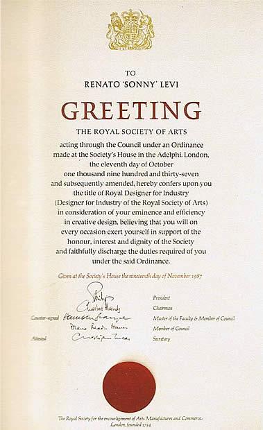 """Diploma di ammissione alla Royal Society of Arts conferito a """"Sonny"""" Levi"""