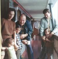 Con Pilar, Marisa, Ethan, JW, Patrick e un amico 1968