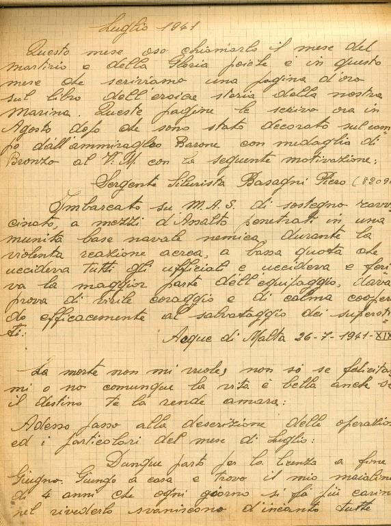 Manosctitto - diario Piero Basagni - luglio 1941
