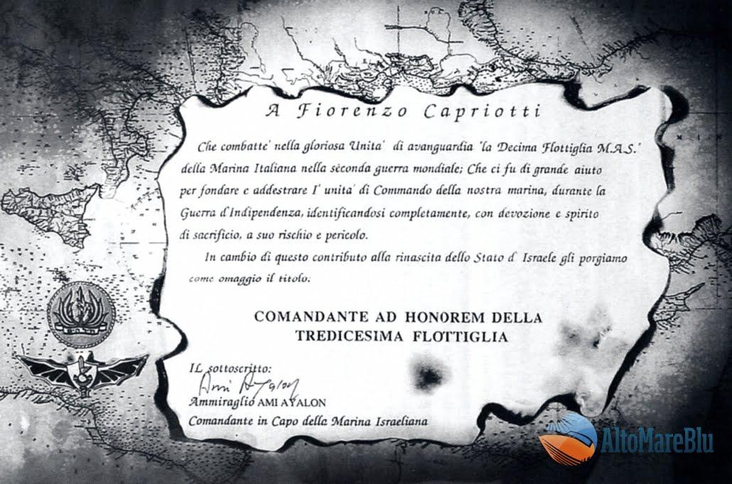 Diploma di Nomina a Comandante ad Honorem della 13ma flottiglia