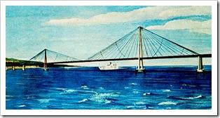 Disegno del progetto del Ponte di Messina del Gruppo Lambertini (1969)